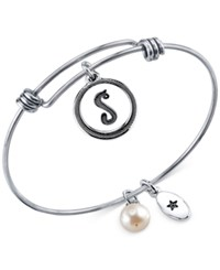 Unwritten Initial Charm And Cultured Freshwater Pearl 8Mm Bangle Bracelets In Stainless Steel