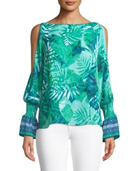 Laundry By Shelli Segal Cold Shoulder Palm Leaf Blouse Green Pattern