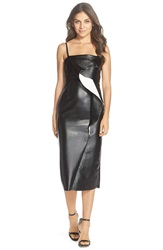 French Connection 'Vic' Coated Faux Leather Midi Dress Black Winter White