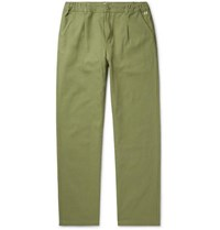 Armor Lux Pleated Cotton Trousers Green
