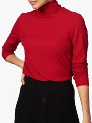 Brora Skinny Rib Polo Top Crimson