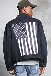 Forever 21 Satin Flag Patch Denim Jacket Black White