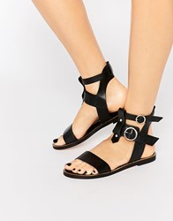 Warehouse Leather Double Buckle Flat Sandal Black