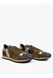 Valentino Khaki Camouflage Suede And Mesh Running Sneakers