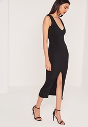 Missguided Plunge Front Split Midi Dress Black Black