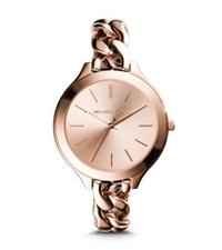 Michael Kors Slim Runway Rose Gold Tone Chain Link Watch