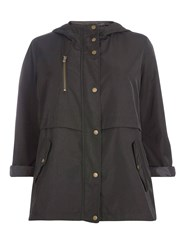 Evans Black Hooded Coat