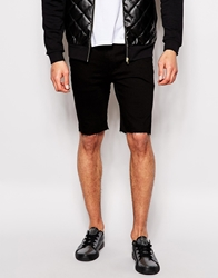 Religion Noize Skinny Fit Black Denim Shorts