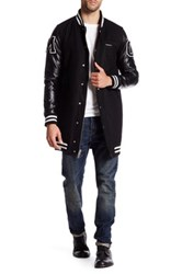 Members Only Wool Blend Faux Leather Sleeve Varsity Jacket Black