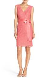 Women's Adrianna Papell Lace Faux Wrap Dress French Coral