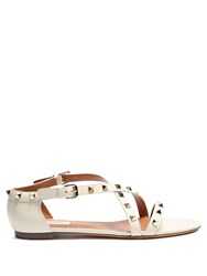 Valentino Rockstud Leather Flat Sandals White