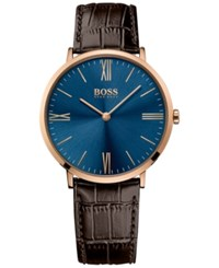 Boss Hugo Men's Jackson Brown Leather Strap Watch 40Mm 1513458 Blue