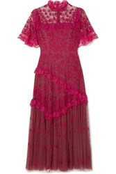 Needle And Thread Elsa Ballerina Ruffled Lace Trimmed Embroidered Tulle Midi Dress Uk6
