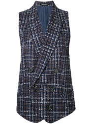 Undercover Checked Waistcoat Blue