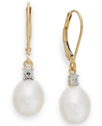 Macy's Cultured Freshwater Pearl 8Mm And Diamond Accent Earrings In 14K Gold