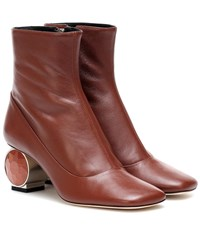 Loewe Leather Ankle Boots Brown