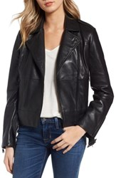 Bernardo Women's Belted Leather Moto Jacket