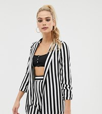Asos Design Tall Relaxed Suit Blazer In Bold Mono Stripe Multi