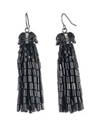 Carolee Tassel Cap Earrings Hematite