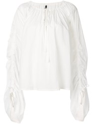 Plein Sud Jeans Ruched Sleeve Blouse White