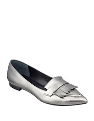 Marc Fisher Susan Leather Loafers Silver