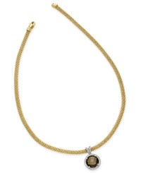 Macy's Smoky Quartz 6 3 8 Ct. T.W. And Diamond 1 2 Ct. T.W. Two Tone Collar Necklace In 14K Gold Plated Sterling Silver Yellow Gold