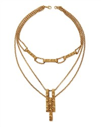 Multi Strand Studded Pendant Necklace Antique Gold Haute Hippie