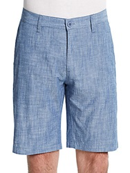 Saks Fifth Avenue Red Cotton Chambray Shorts Navy Mix