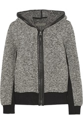 Enza Costa Leather Trimmed Hooded Boucle Knit Sweater Gray