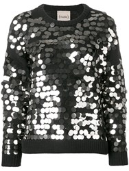 Nude Sequin Embroidered Sweater Black