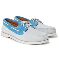 Quoddy Downeast Two Tone Suede Boat Shoes Sky Blue