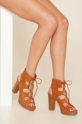 Forever 21 Faux Suede Lace Up Platforms