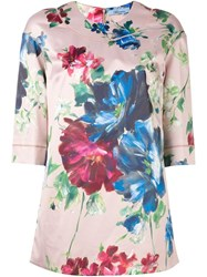 Blumarine Floral Print T Shirt Pink And Purple