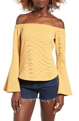 Leith Women's Bell Sleeve Off The Shoulder Top Tan Mustard