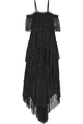 Philosophy Di Lorenzo Serafini Asymmetric Tiered Off The Shoulder Cotton Blend Lace Midi Dress Black