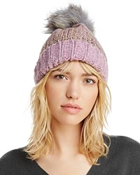 Aqua Metallic Fur Pom Pom Hat 100 Exclusive Purple