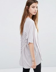 Religion Oversized T Shirt With Tassel Detail H Grey