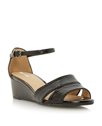 Geox D Lupe Double Strap Dressy Wedge Black Leather