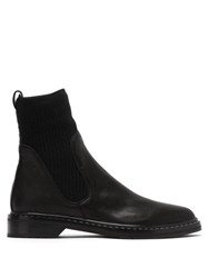 The Row Fara Cashmere Insert Leather Boots Black