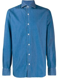 Barba Button Denim Shirt Blue