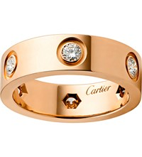 Cartier Love 18Ct Pink Gold And Diamond Ring