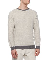 Billy Reid Cotton Merino Raglan Crewneck Sweater Dark Gray Men's