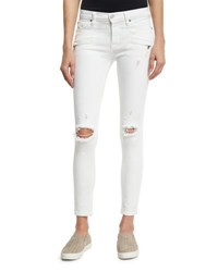 Hudson Roe Mid Rise Super Skinny Ankle Jeans With Ripped Knees Strife 2 White