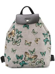 Longchamp Butterfly Print Small Backpack Grey