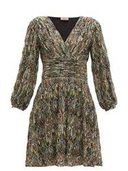 Missoni Leaf Knitted Lace Cocktail Dress Black Multi