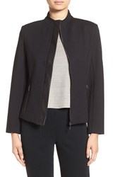 Ming Wang Women's Faux Leather Trim Ponte Jacket