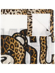Moschino Printed Teddy Bear Scarf Neutrals