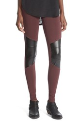 Junior Women's Sun And Shadow Leggings With Faux Leather Trim Burgundy Fudge