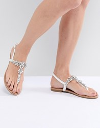 Faith Jile Silver Embellished Flat Sandals Silver White