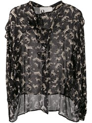 8Pm Animal Print Blouse Black